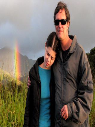 Pri, Luiz e Arco-Iris no Pico do Sol